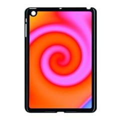 Swirl Orange Pink Abstract Apple Ipad Mini Case (black) by BrightVibesDesign