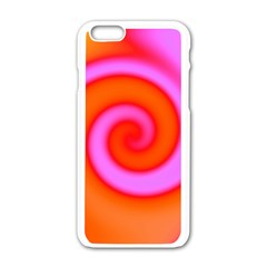 Swirl Orange Pink Abstract Apple Iphone 6/6s White Enamel Case