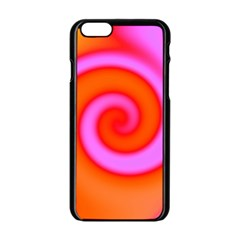Swirl Orange Pink Abstract Apple Iphone 6/6s Black Enamel Case by BrightVibesDesign