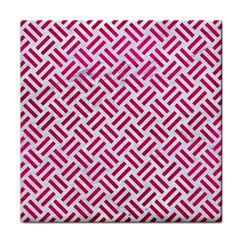 Woven2 White Marble & Pink Leather (r) Tile Coasters