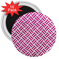 Woven2 White Marble & Pink Leather (r) 3  Magnets (10 Pack)  by trendistuff