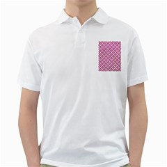 Woven2 White Marble & Pink Leather (r) Golf Shirts