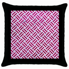 Woven2 White Marble & Pink Leather (r) Throw Pillow Case (black)