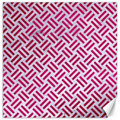 Woven2 White Marble & Pink Leather (r) Canvas 12  X 12   by trendistuff