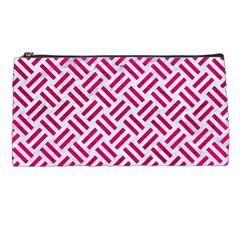 Woven2 White Marble & Pink Leather (r) Pencil Cases by trendistuff