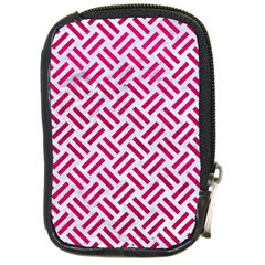 Woven2 White Marble & Pink Leather (r) Compact Camera Cases