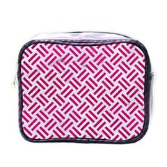 Woven2 White Marble & Pink Leather (r) Mini Toiletries Bags