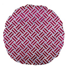Woven2 White Marble & Pink Leather (r) Large 18  Premium Flano Round Cushions