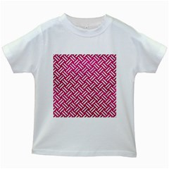 Woven2 White Marble & Pink Leather Kids White T Shirts