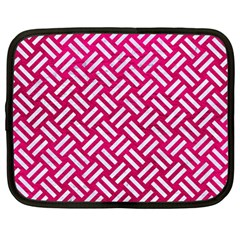 Woven2 White Marble & Pink Leather Netbook Case (large)