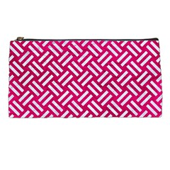 Woven2 White Marble & Pink Leather Pencil Cases