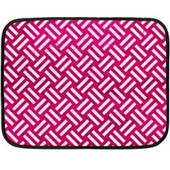 Woven2 White Marble & Pink Leather Double Sided Fleece Blanket (mini)  by trendistuff