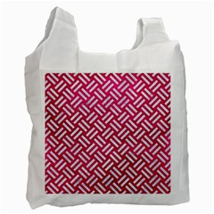 Woven2 White Marble & Pink Leather Recycle Bag (two Side)