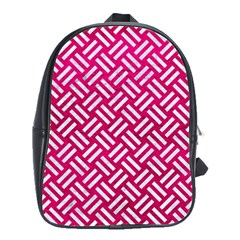 Woven2 White Marble & Pink Leather School Bag (large)