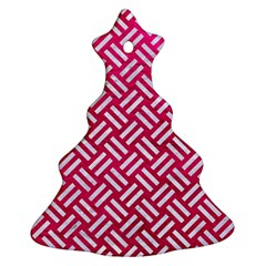 Woven2 White Marble & Pink Leather Christmas Tree Ornament (two Sides)