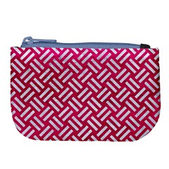 Woven2 White Marble & Pink Leather Large Coin Purse