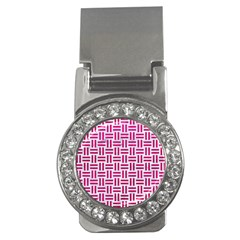 Woven1 White Marble & Pink Leather (r) Money Clips (cz)