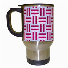 Woven1 White Marble & Pink Leather (r) Travel Mugs (white)