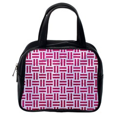 Woven1 White Marble & Pink Leather (r) Classic Handbags (one Side)