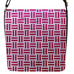 Woven1 White Marble & Pink Leather (r) Flap Messenger Bag (s)