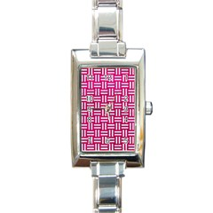 Woven1 White Marble & Pink Leather Rectangle Italian Charm Watch