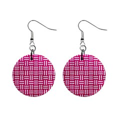 Woven1 White Marble & Pink Leather Mini Button Earrings