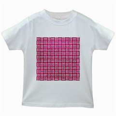 Woven1 White Marble & Pink Leather Kids White T Shirts