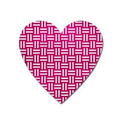 Woven1 White Marble & Pink Leather Heart Magnet