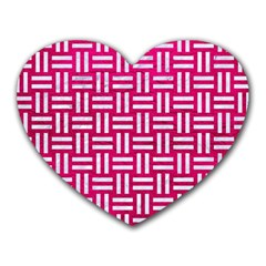 Woven1 White Marble & Pink Leather Heart Mousepads