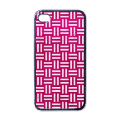 Woven1 White Marble & Pink Leather Apple Iphone 4 Case (black)
