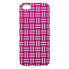Woven1 White Marble & Pink Leather Apple Iphone 5 Premium Hardshell Case