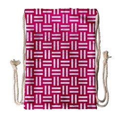 Woven1 White Marble & Pink Leather Drawstring Bag (large)