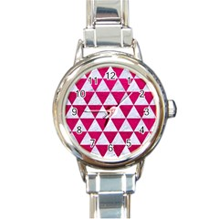 Triangle3 White Marble & Pink Leather Round Italian Charm Watch by trendistuff