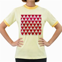 Triangle3 White Marble & Pink Leather Women s Fitted Ringer T Shirts