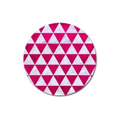 Triangle3 White Marble & Pink Leather Magnet 3  (round)