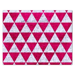 Triangle3 White Marble & Pink Leather Rectangular Jigsaw Puzzl