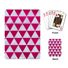 Triangle3 White Marble & Pink Leather Playing Card