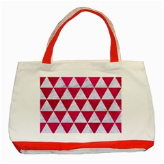 Triangle3 White Marble & Pink Leather Classic Tote Bag (red)