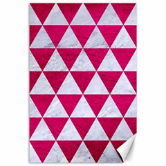 Triangle3 White Marble & Pink Leather Canvas 24  X 36