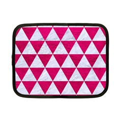 Triangle3 White Marble & Pink Leather Netbook Case (small)  by trendistuff