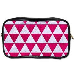 Triangle3 White Marble & Pink Leather Toiletries Bags