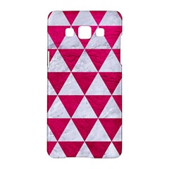 Triangle3 White Marble & Pink Leather Samsung Galaxy A5 Hardshell Case
