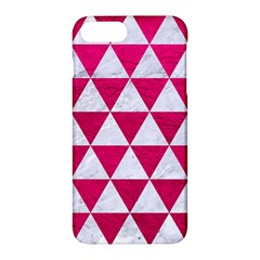 Triangle3 White Marble & Pink Leather Apple Iphone 7 Plus Hardshell Case