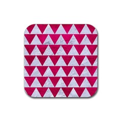 Triangle2 White Marble & Pink Leather Rubber Square Coaster (4 Pack)  by trendistuff