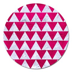 Triangle2 White Marble & Pink Leather Magnet 5  (round)
