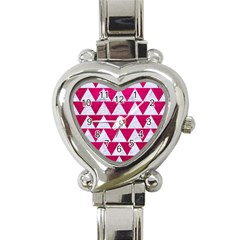 Triangle2 White Marble & Pink Leather Heart Italian Charm Watch by trendistuff