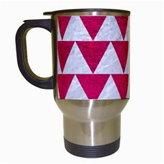Triangle2 White Marble & Pink Leather Travel Mugs (white)