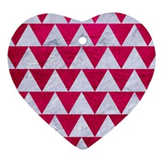 Triangle2 White Marble & Pink Leather Heart Ornament (two Sides)