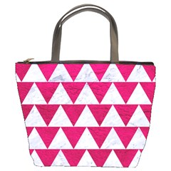 Triangle2 White Marble & Pink Leather Bucket Bags