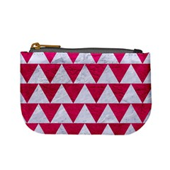 Triangle2 White Marble & Pink Leather Mini Coin Purses